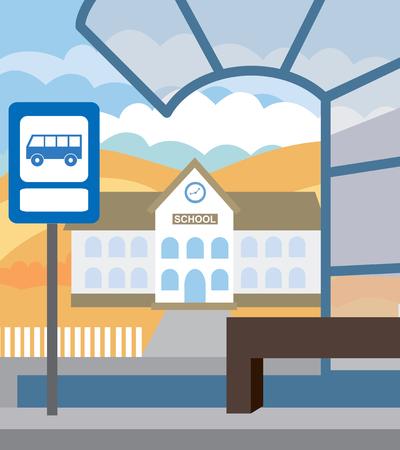 parada de autobus: Parada de autob�s para el autob�s escolar. Volver a la escuela (ilustraci�n vectorial, concepto plana)