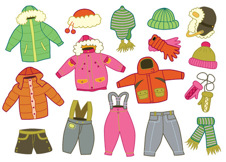 clothes: collection of winter children clothes