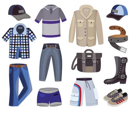 checkered polo shirt: collection of men clothes Illustration