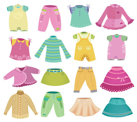collection of children clothes Vector