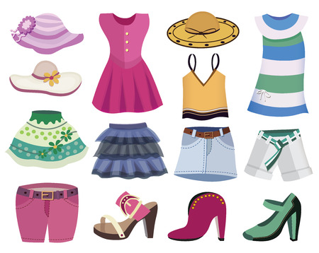 collection of women clothes Vector