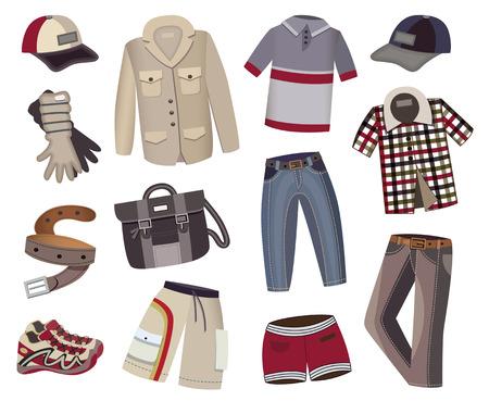 verzameling van de mannen kleding Vector Illustratie