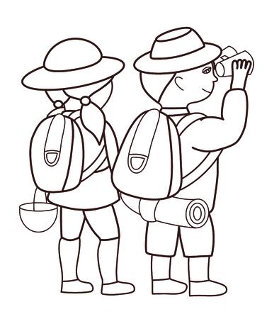 mirando: Los turistas que buscan a trav�s de binoculares (ilustraci�n vectorial)