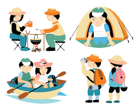 tourists travel (vector illustration set) Vector