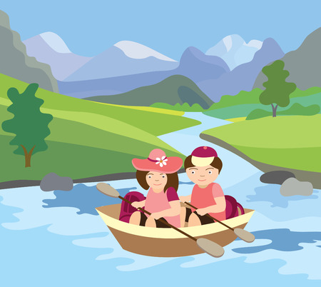river, meadow and beautiful landscape (vector illustration) Vector