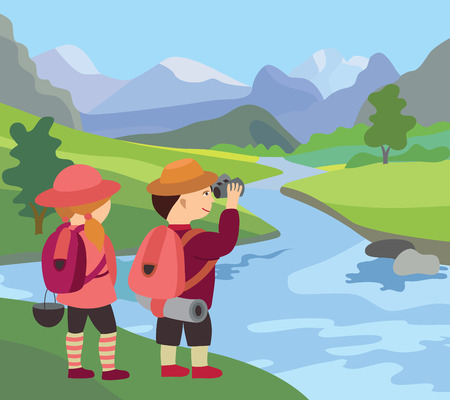 river, meadow and beautiful landscape (vector illustration)