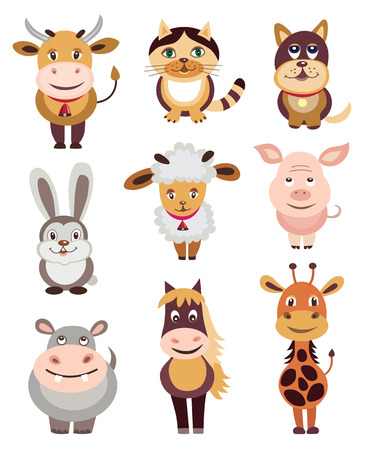 rabbit clipart: set of animals icons (vector illustration)