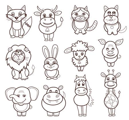 leon de dibujos animados: conjunto de iconos de animales (ilustración vectorial) Vectores