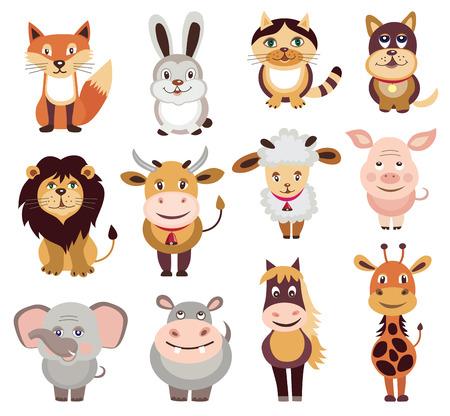leon caricatura: conjunto de iconos de animales (ilustraci�n vectorial) Vectores