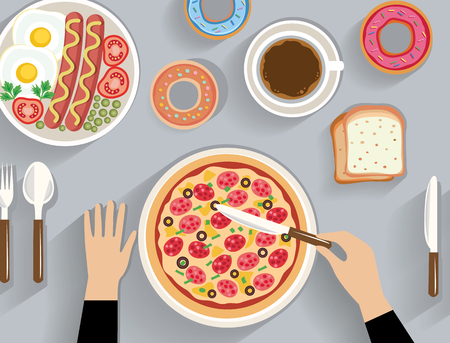 table top: business lunch, dinner table - top view (flat concept, vector illustration) Illustration