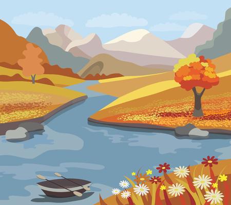 Beautiful autumn landscape (vector illustration) Vector