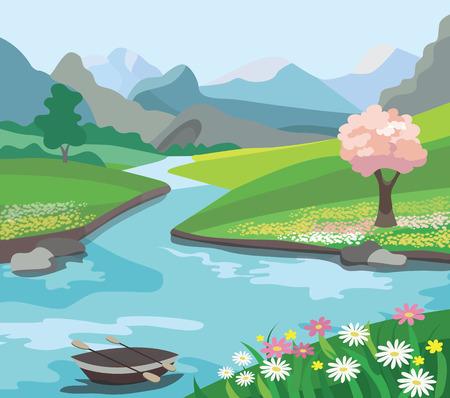 Beau paysage de printemps (illustration vectorielle)