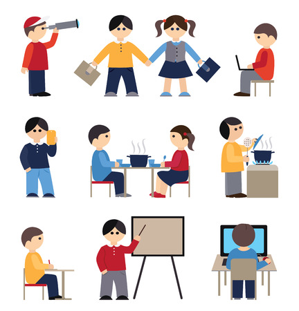 conception: Icons set with people and students (flat conception, vector illustration) Illustration