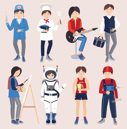 diferentes profesiones: Conjunto de personas de diferentes profesiones (ilustración vectorial)