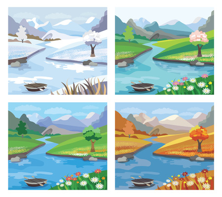 Beautiful landscape with river and mountains. Four season. (vector illustration) Illustration