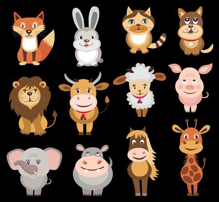 leon de dibujos animados: conjunto de iconos de animales ilustración vectorial