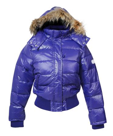 white winter: fashion winter jacket  isolated on white background Stock Photo