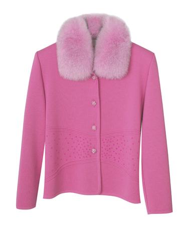 jabot: pink jacket isolated on white background Stock Photo