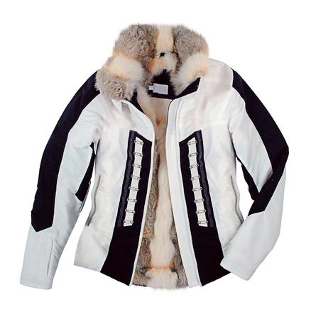 jupe: fashion fur jacket isolated on white