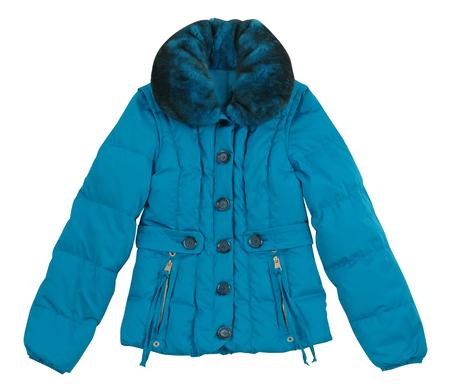 jupe: blue winter jacket isolated on white