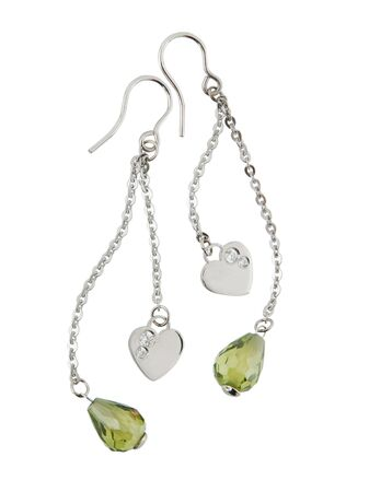 silver earrings isolated on white background