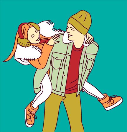 Boy Love Carrying Girl His Back Hand Drawn Style Vector