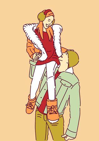 Man Holding Girl His Shoulder Hand Drawn Style Vector Design Illustration