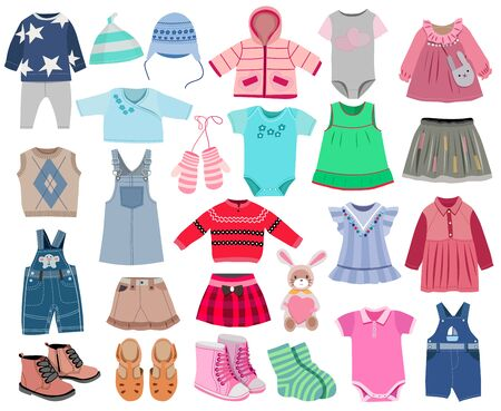 Collection of fashionable children's clothing isolated on white background, vector illustration Stock Illustratie