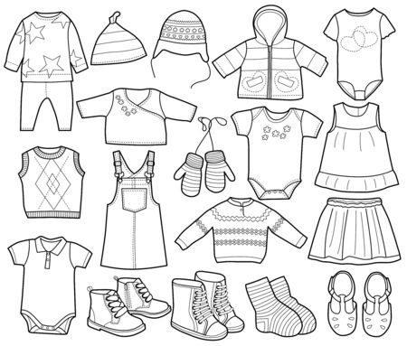 Collection of fashionable childrens clothing, vector illustration, coloring book