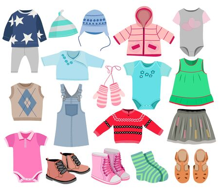 Collection of fashionable children's clothing, vector illustration Stock Illustratie