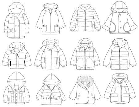 Kolekcja modnej odzieży dziecięcej, ilustracji wektorowych, kolorowanka
