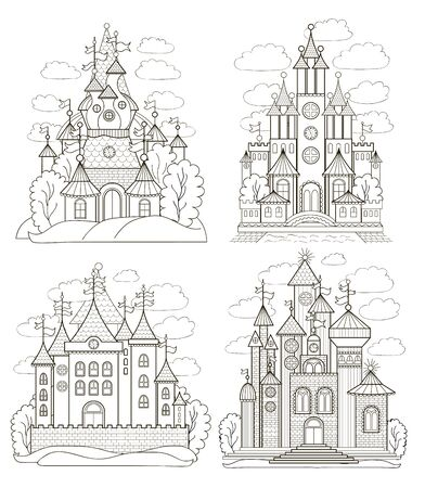 Set of fairy castles for coloring book - stock illustration Vectores