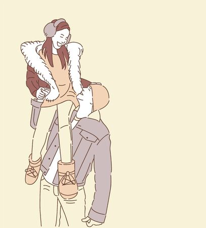 Man Holding Girl His Shoulder Hand Drawn Style Vector Design  イラスト・ベクター素材