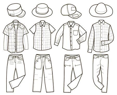 Colección de ropa de hombre de moda (ilustración vectorial, libro para colorear)