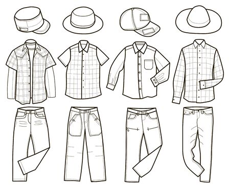 Collection of fashionable men's clothing (vector illustration, coloring book)
