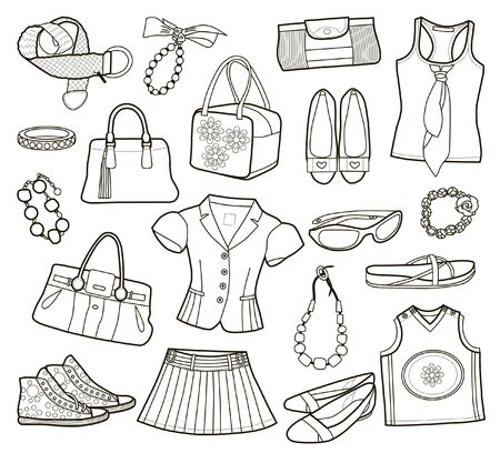 Collection of fashionable women's clothes isolated on white (vector illustration)
