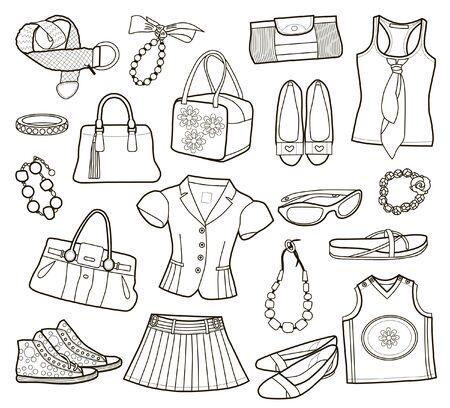 Kollektion modischer Damenbekleidung, isoliert auf weiss (Vektorillustration)
