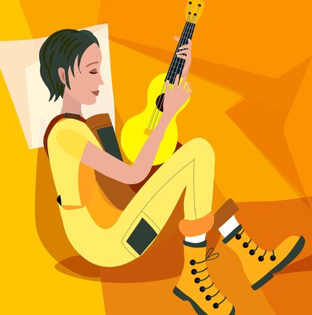 Girl with a guitar, vector illustration