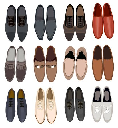 collection of men footwear isolated on white background
