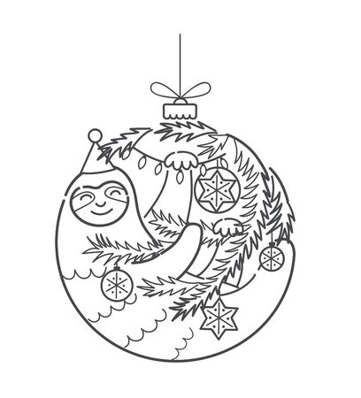 Cute funny Christmas lazy sloth, vector illustation