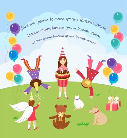 Children happy birhday party, card