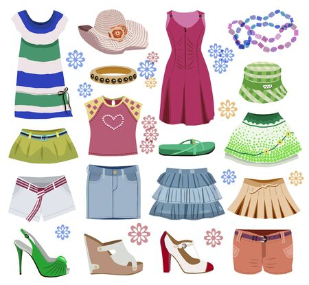 Collection of fashionable women's clothes isolated on white (vector illustration) Ilustração
