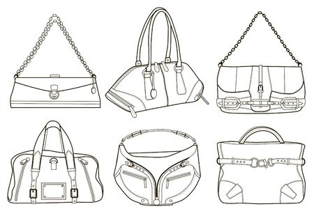 Collection of fashion women's bags (vector illustration)