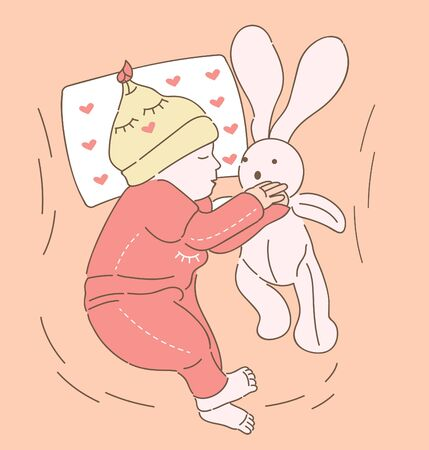 Little baby sleeping with a toy hare, drawn style vector design illustrations 일러스트