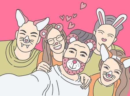 Group of young hipster friends make-up photo with smartphone camera. Vector illustration. Иллюстрация