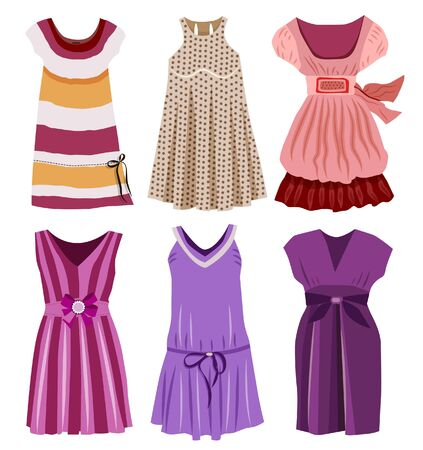 Collection of fashionable women's clothes Çizim