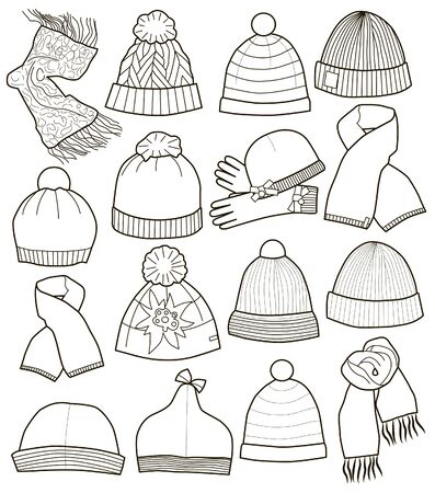 Collection of caps isolated on white background Vecteurs