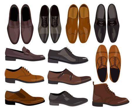 Colección de calzado de hombre aislado sobre fondo blanco. Ilustración de vector