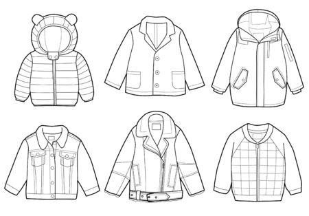 Collection de vêtements pour enfants à la mode, illustration vectorielle, livre de coloriage Vecteurs