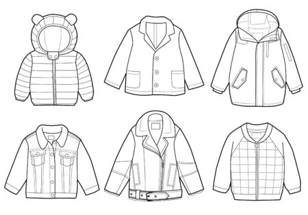 Collection of fashionable children's clothing, vector illustration, coloring book Ilustracje wektorowe